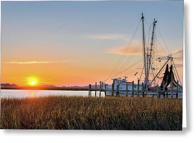 Florida Seafood Greeting Cards - Lowcountry Sunset Greeting Card by Drew Castelhano