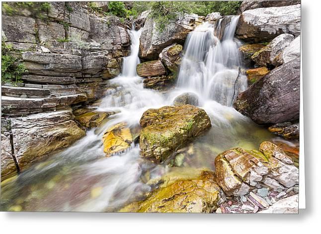 Stream Greeting Cards - Lower Apikuni Falls Greeting Card by Richard Sandford