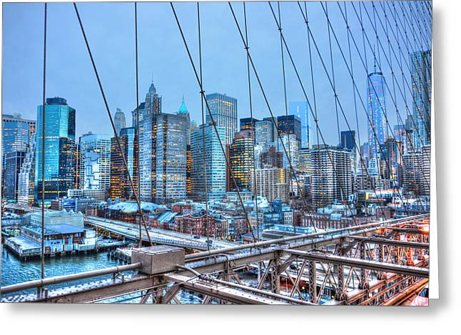Brooklyn Bridge Park Greeting Cards - Lower East Side at Dusk from the Brooklyn Bridge Greeting Card by Randy Aveille
