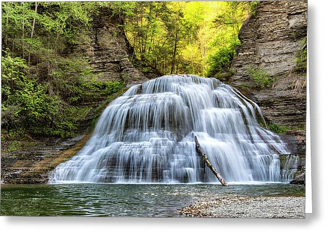 Lower Falls At Treman State Park Greeting Card by Stephen Stookey