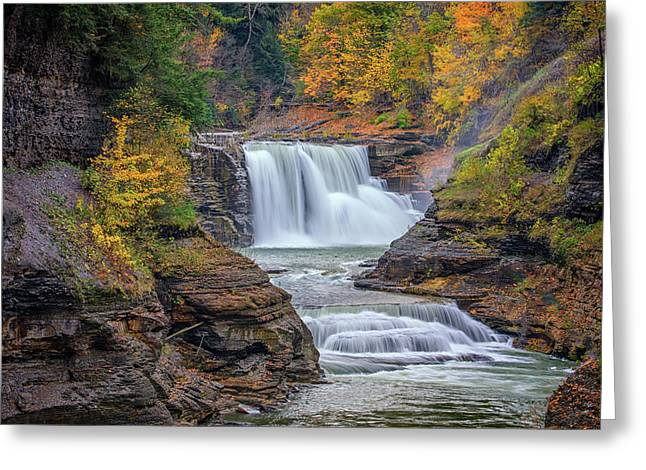 Lower Falls In Autumn Greeting Card by Rick Berk