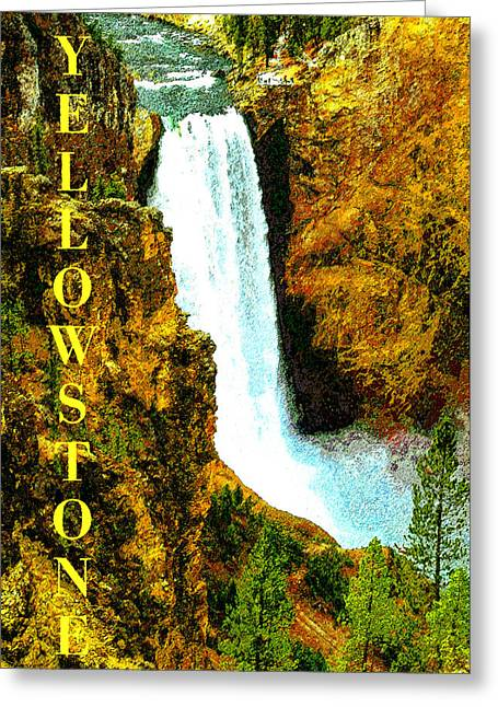 Montana Landscape Art Greeting Cards - Lower Falls of the Yellowstone Greeting Card by David Lee Thompson