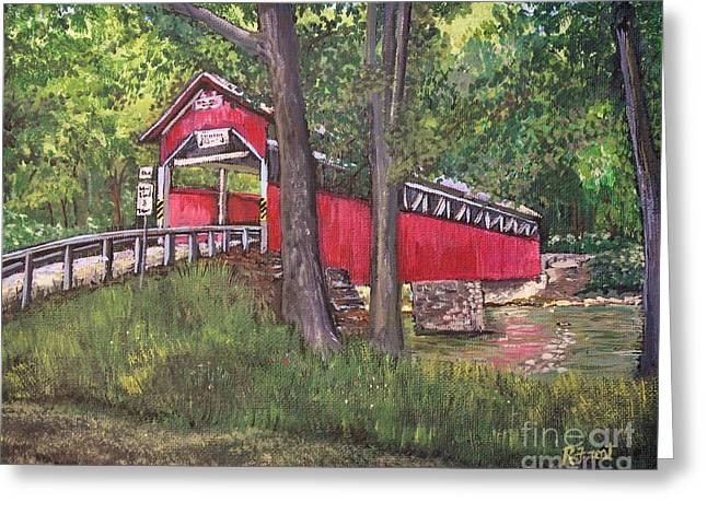 Covered Bridge Paintings Greeting Cards - Lower Humbert Covered Bridge  Greeting Card by Reb Frost