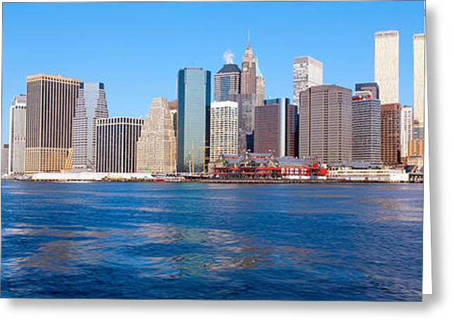 Lower Manhattan, East River, New York Greeting Card by Panoramic Images