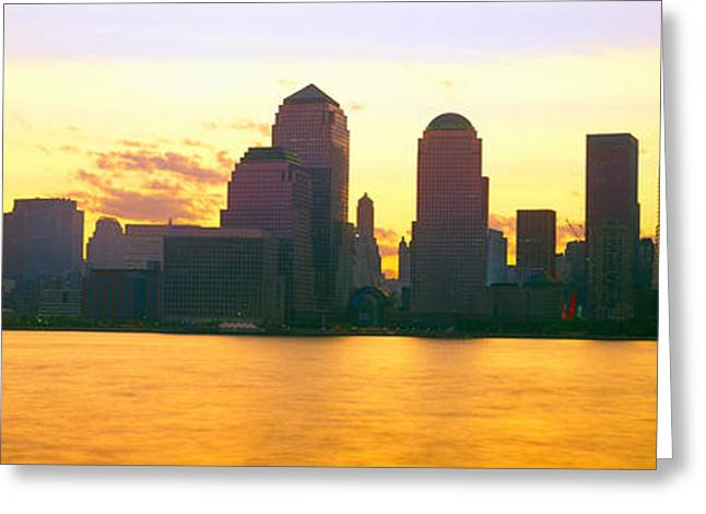 Lower Manhattan Skyline At Sunrise Greeting Card by Panoramic Images