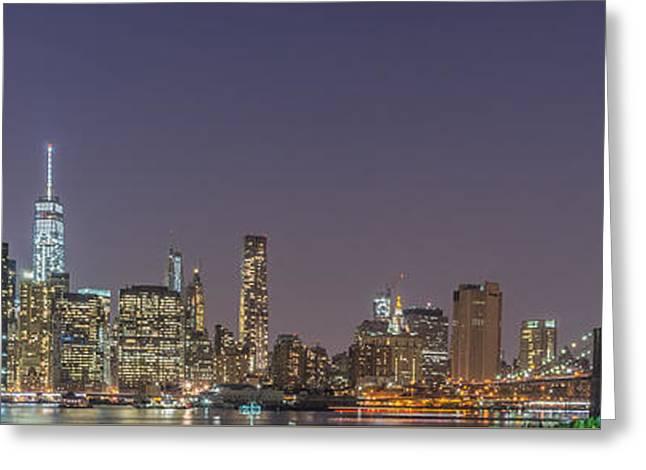 Brooklyn Bridge Park Greeting Cards - Lower Manhattan Skyline Nightscape Greeting Card by Scott McGuire