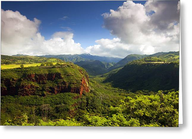 Green Clouds Greeting Cards - Lower Wiamea View Greeting Card by Mike  Dawson