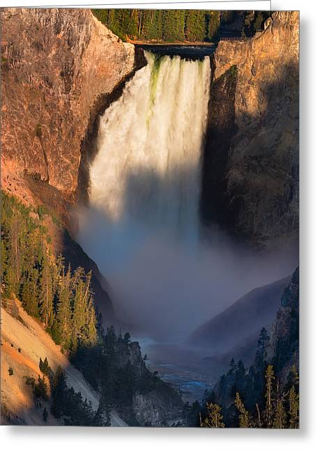 Hdr Landscape Photographs Greeting Cards - Lower Yellowstone Falls Greeting Card by Steve Gadomski
