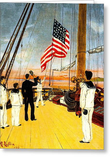 Schooner Greeting Cards - Lowering the Stars and Stripes Greeting Card by Unknown