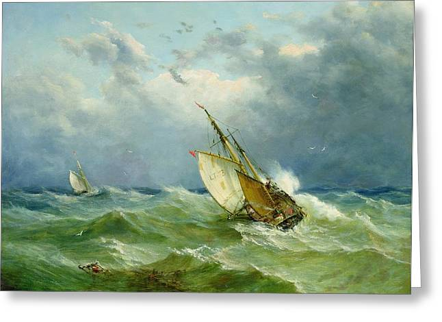 1820 Greeting Cards - Lowestoft Trawler in Rough Weather Greeting Card by John Moore