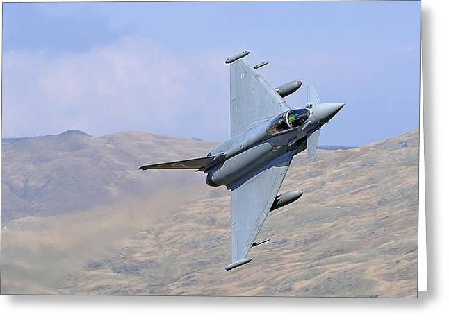 Lowflying Typhoon In The Welsh Hills 01 Greeting Card by Barry Culling
