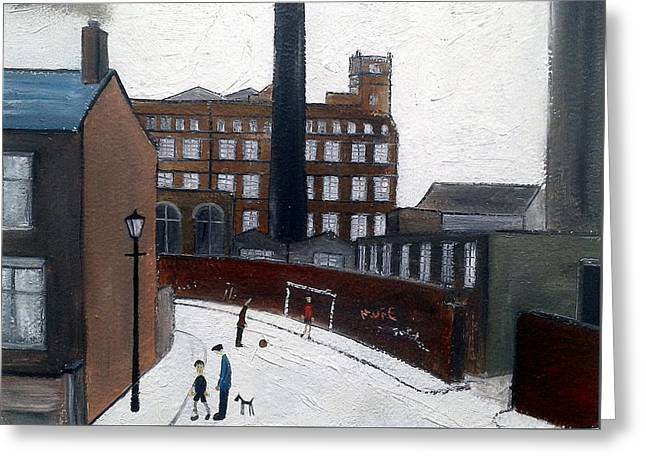 Working Dog Greeting Cards - British Industrial Northern Art Landscapes - Lowry Mill Manchester Greeting Card by Walker Scott