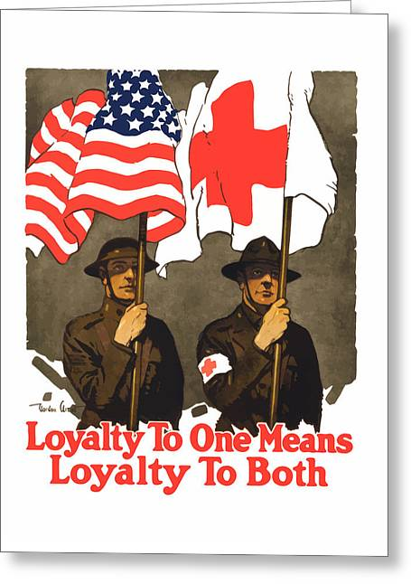 Red Cross Greeting Cards - Loyalty To One Means Loyalty To Both Greeting Card by War Is Hell Store