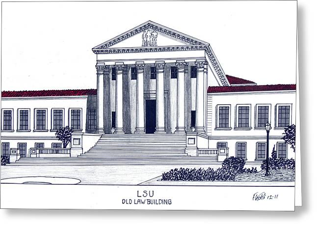 College Campus Buildings Drawings Greeting Cards - LSU Old Law Building Greeting Card by Frederic Kohli