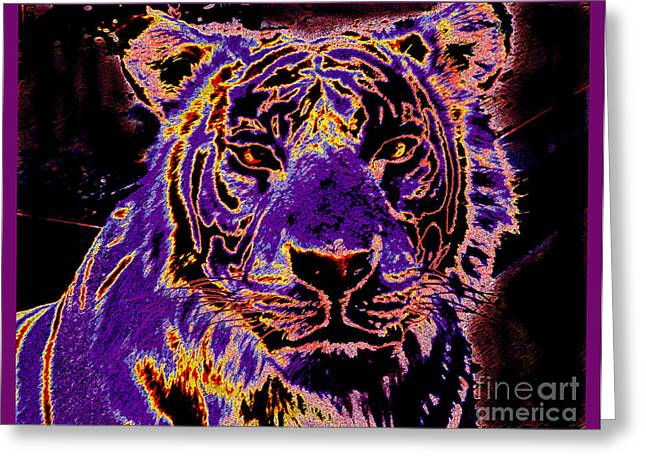 Lsu Football Greeting Cards - LSU Tiger Greeting Card by RJ Aguilar