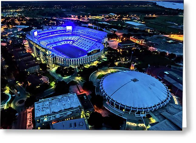 Lsu Tiger Stadium Supports Law Enforcement Greeting Card by Andy Crawford