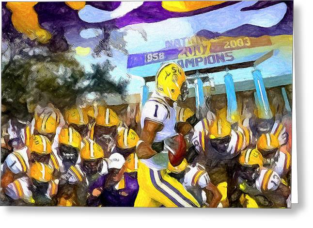 Sec Conference Greeting Cards - LSU Tigers Number One Greeting Card by John Farr