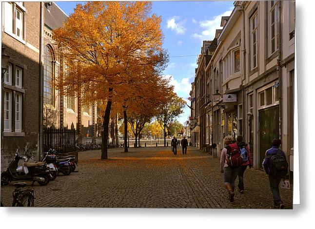 Little Lady Mary Square In October Maastricht Greeting Card by Nop Briex