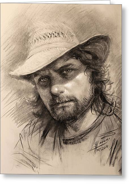 Charcoal Portrait Greeting Cards - Luca Greeting Card by Ylli Haruni