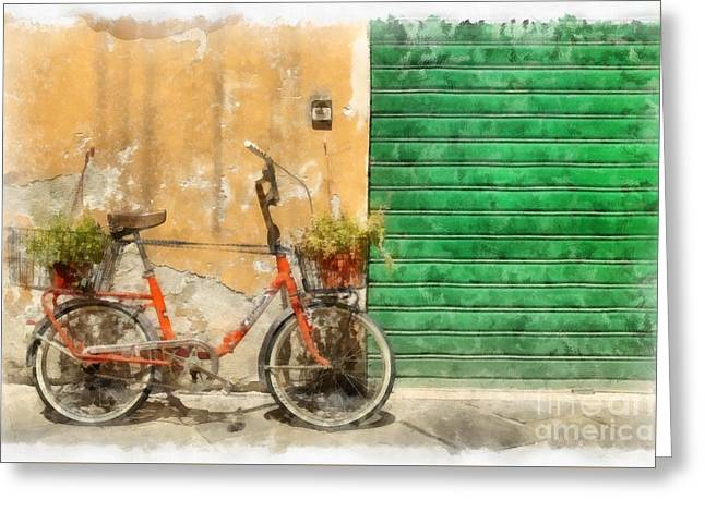 Lucca Greeting Cards - Lucca Italy Bike Watercolor Greeting Card by Edward Fielding