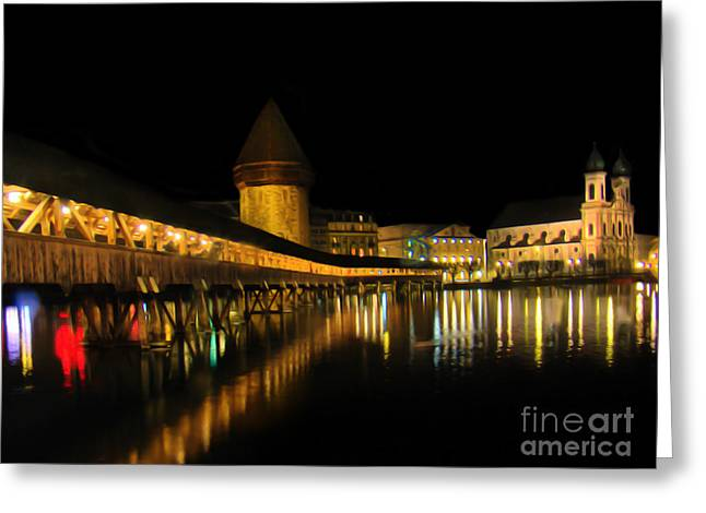 Lions Greeting Cards - Lucerne Night Beauty II - Painting Greeting Card by Al Bourassa