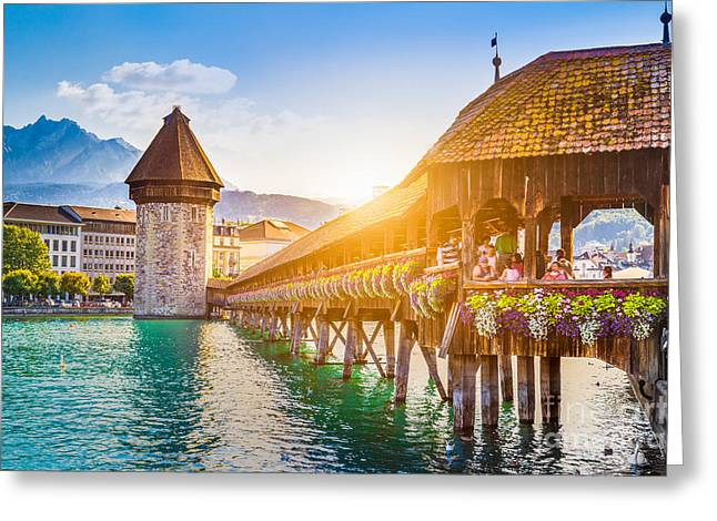 Lucerne Sunset Greeting Card by JR Photography