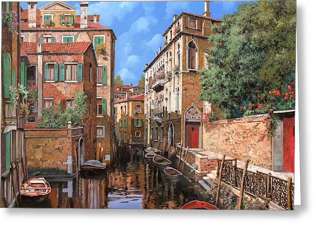 Noon Greeting Cards - Luci A Venezia Greeting Card by Guido Borelli