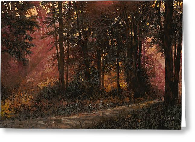 Sunlight Greeting Cards - Luci Nel Bosco Greeting Card by Guido Borelli