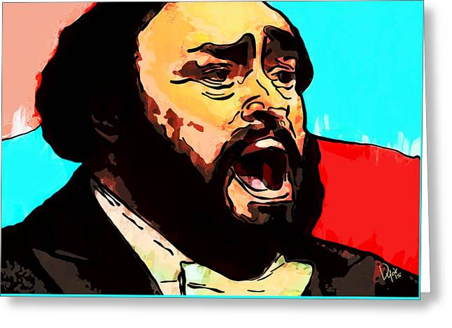 Pavarotti Greeting Cards - Luciano Pavarotti  Greeting Card by Vya Artist