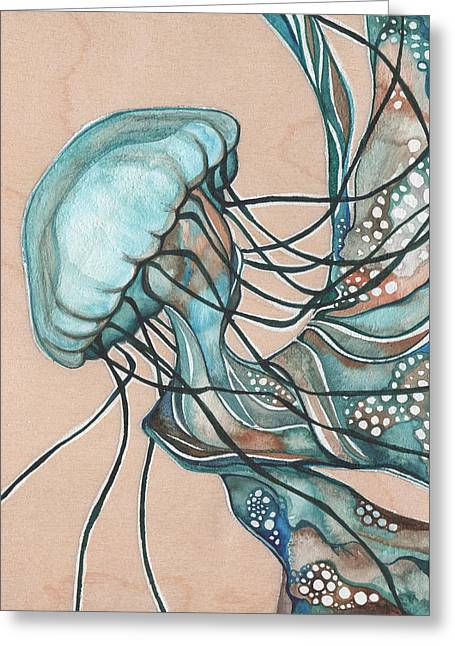 Jellyfish Greeting Cards - Lucid Jellyfish on Wood Greeting Card by Tamara Phillips
