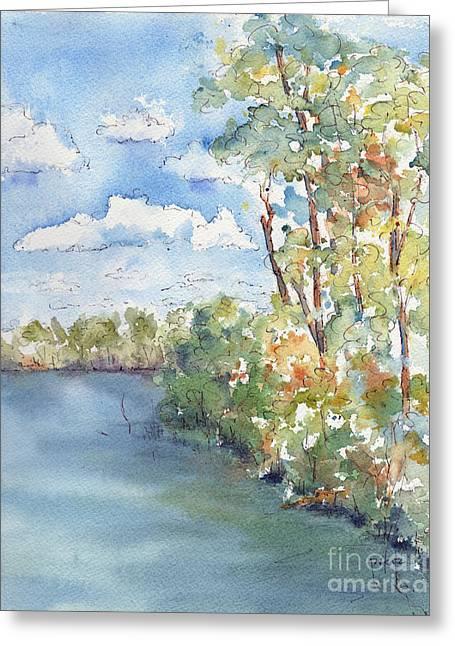 Willow Lake Greeting Cards - Lucien Lake Shoreline Greeting Card by Pat Katz