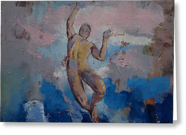 Lucifer Descending Greeting Card by Michael Creese