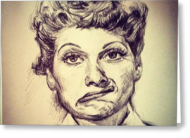 Ricky Ricardo Greeting Cards - Lucille Ball Greeting Card by Billy Jackson