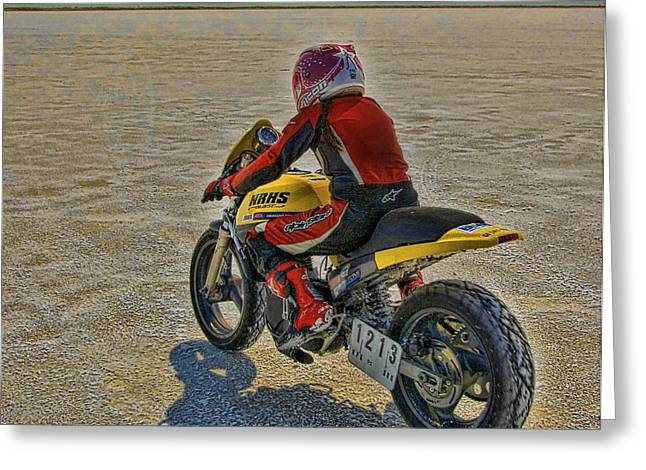 Salt Flats Racer Greeting Cards - Lucille Takes Off Greeting Card by Nick Roberts