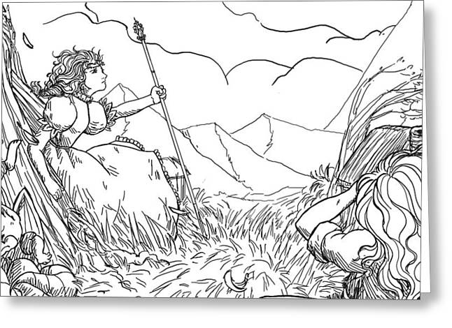 Francis Greeting Cards - Lucinda Sketch Greeting Card by Reynold Jay