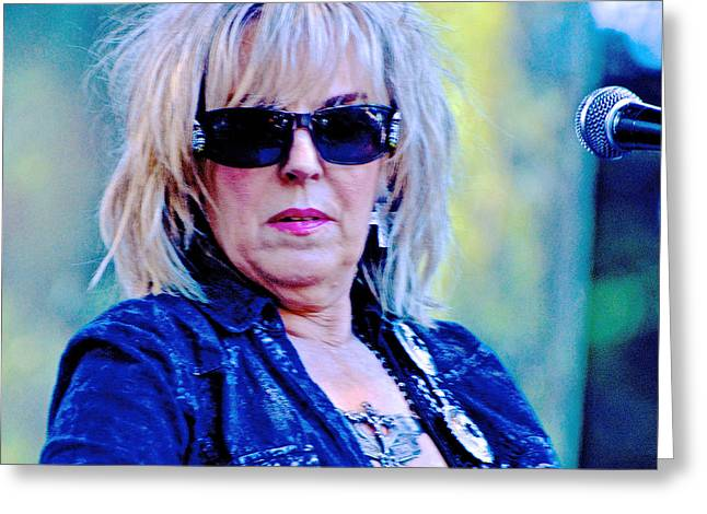 Live Art Greeting Cards - Lucinda Williams Greeting Card by Debra Amerson