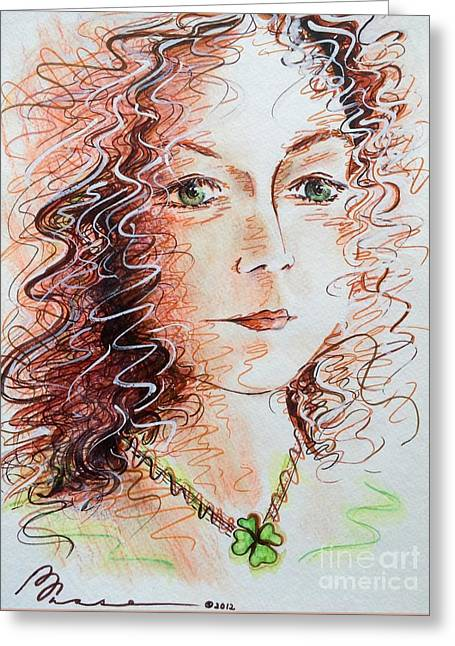 Absorb Paintings Greeting Cards - Luck-lorn Greeting Card by Barbara Chase