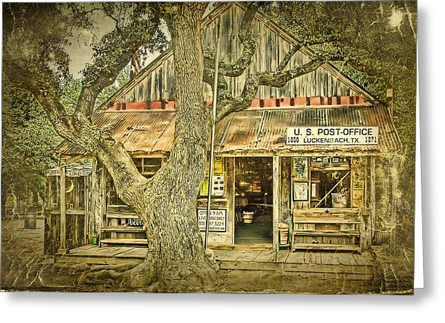 Willie Greeting Cards - Luckenbach Aged Greeting Card by Scott Norris