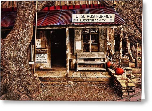 Historic Country Store Greeting Cards - Luckenbach Post Office Greeting Card by Judy Vincent