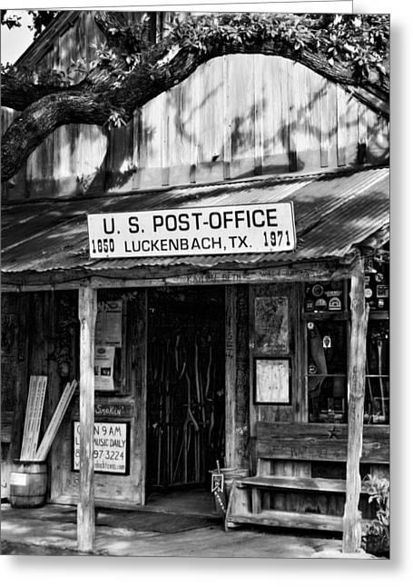 Greeting Cards - Luckenbach Texas BW Greeting Card by Joan Carroll
