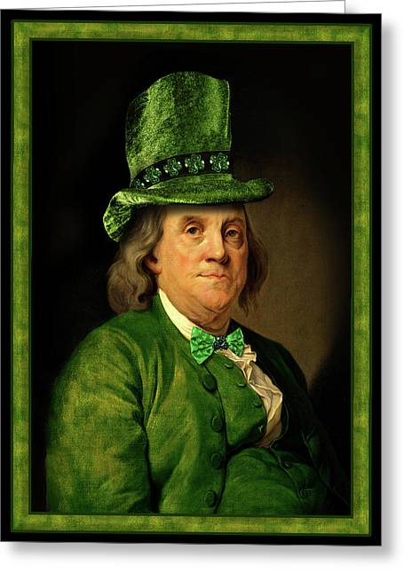 Green Hat Art Greeting Cards - Lucky Ben Franklin in Green Greeting Card by Gravityx9  Designs