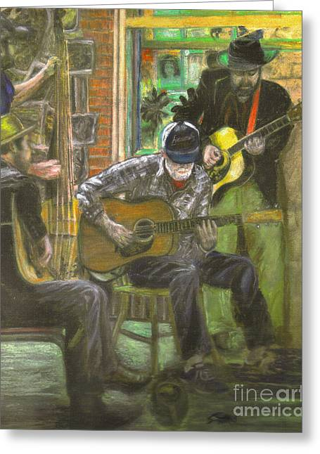 Guitar Pastels Greeting Cards - Lucky Blue Crawdad Quartet Greeting Card by Janice Bays