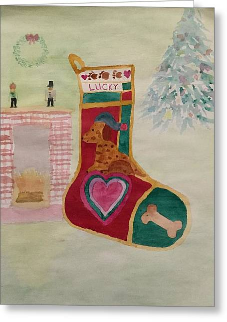 Lucky Dog Greeting Card by Bonnie A