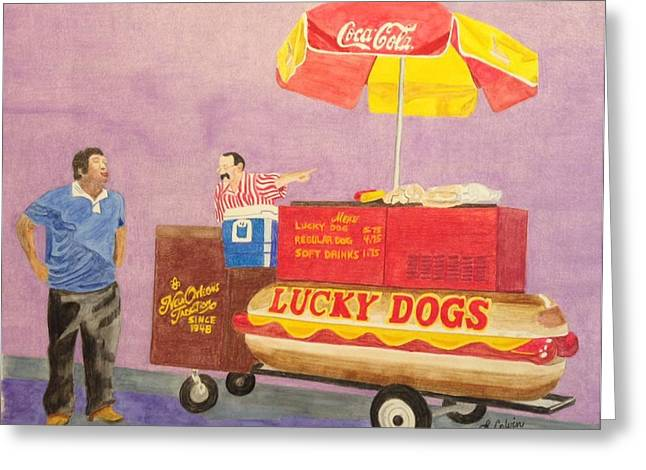 Lucky Dogs Paintings Greeting Cards - Lucky Dog Cart Greeting Card by Linda Colvin