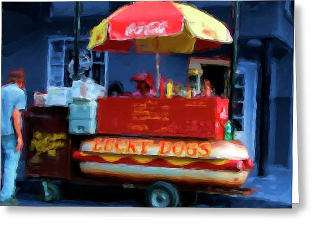 Lucky Dogs Paintings Greeting Cards - Lucky Dog Greeting Card by Mark Rosenbohm