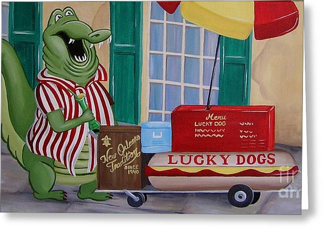 Lucky Dog Greeting Card by Valerie Carpenter