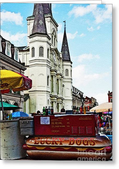 Lucky Dogs Greeting Cards - Lucky Dogs and St. Louis Cathedral Greeting Card by Kathleen K Parker