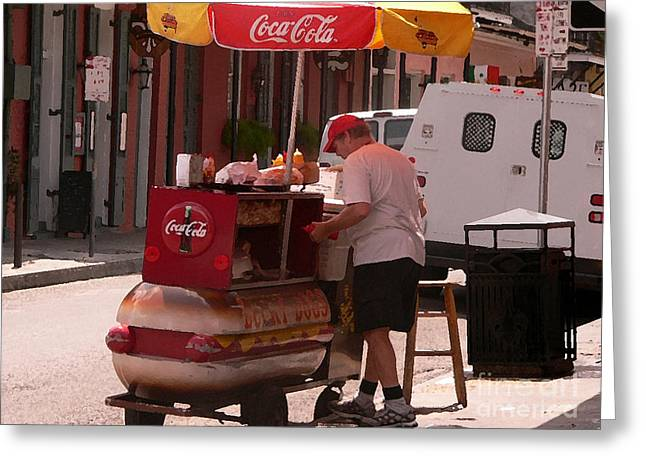 Hot Dog Stand Greeting Cards - Lucky Dogs Greeting Card by David Bearden