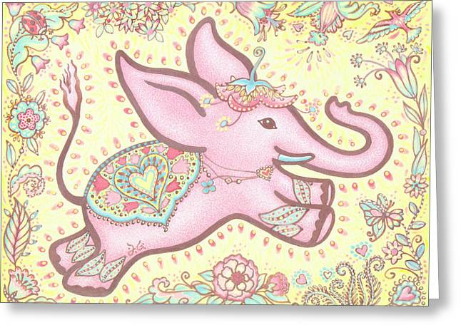 Inner Self Paintings Greeting Cards - Lucky Elephant Rose Greeting Card by Judith Grzimek