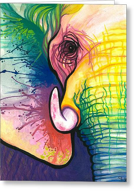 Lucky Elephant Spirit Greeting Card by Sarah Jane